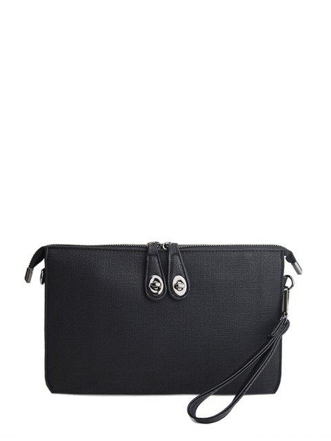 outfit Twist-Lock Zipper Textured Leather Clutch Bag - BLACK  Mobile