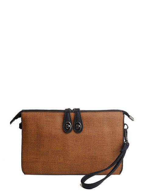 shop Twist-Lock Zipper Textured Leather Clutch Bag - BROWN  Mobile