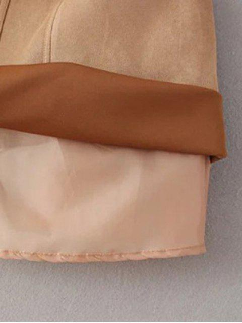 trendy A Line Front Pockets Suede Skirt - LIGHT COFFEE S Mobile