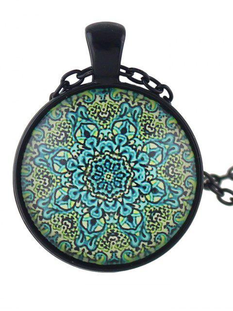 affordable Mandala Round Necklace - BLUE  Mobile