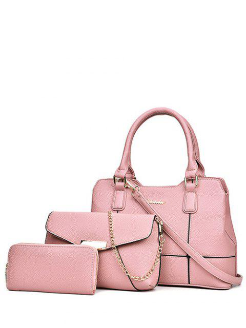 buy Dome Stud Zip Textured Leather Tote Bag - PINK  Mobile