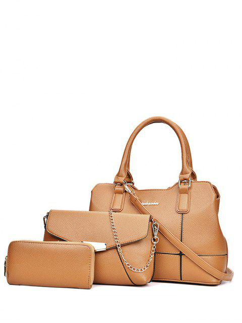 womens Dome Stud Zip Textured Leather Tote Bag - BROWN  Mobile