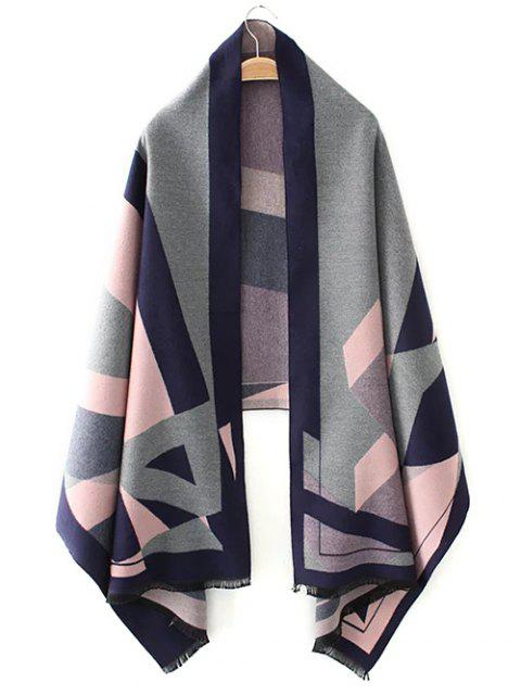 ladies Geometric Jacquard Knitted Poncho - PINK ONE SIZE Mobile