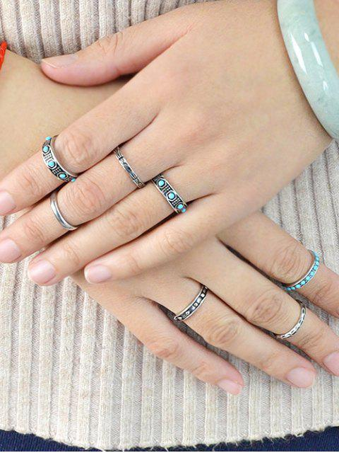 chic Faux Turquoise Rings Set -   Mobile