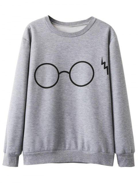 hot Fleece Lined Glasses Graphic Sweatshirt - GRAY L Mobile