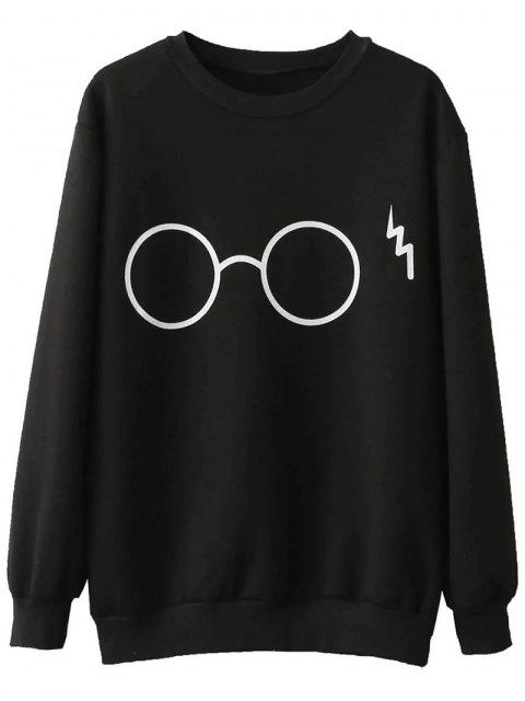 shop Fleece Lined Glasses Graphic Sweatshirt - BLACK L Mobile