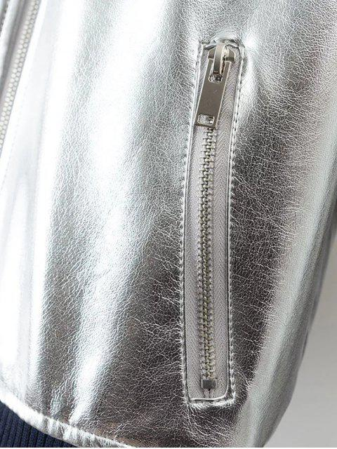 chic Metallic PU Leather Bomber Jacket - SILVER M Mobile