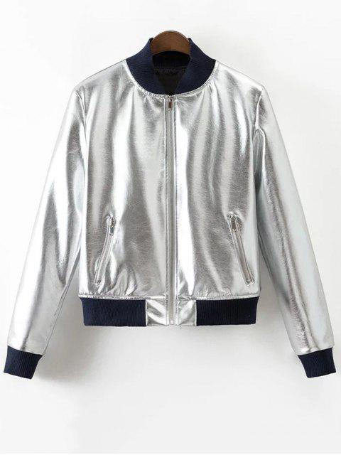 trendy Metallic PU Leather Bomber Jacket - SILVER XL Mobile