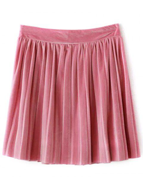 affordable Pleated Velvet Mini Skirt - PINK M Mobile