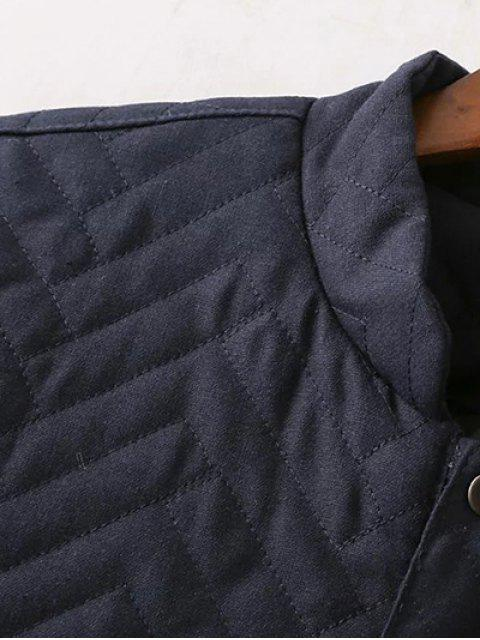 fancy Herringbone Quilted Embroidered Jacket - PURPLISH BLUE L Mobile