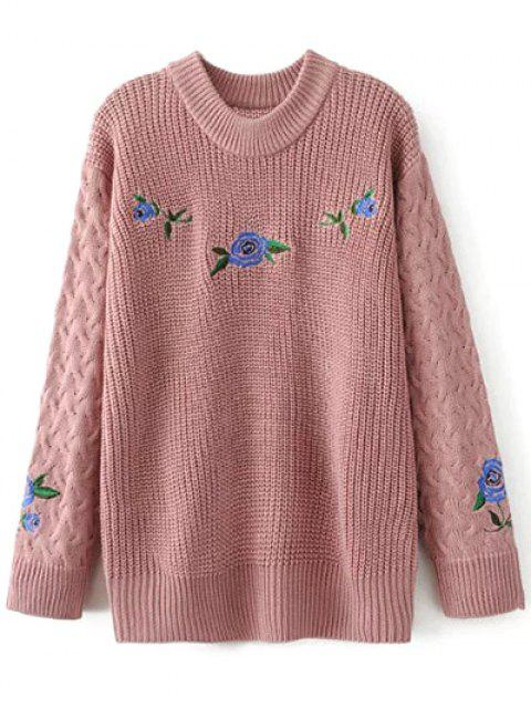 best Oversized Floral Embroidered Sweater - PINK XL Mobile