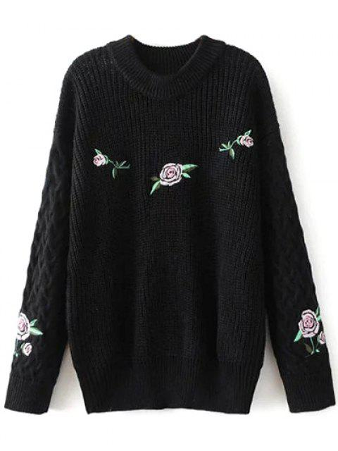 outfits Oversized Floral Embroidered Sweater - BLACK M Mobile