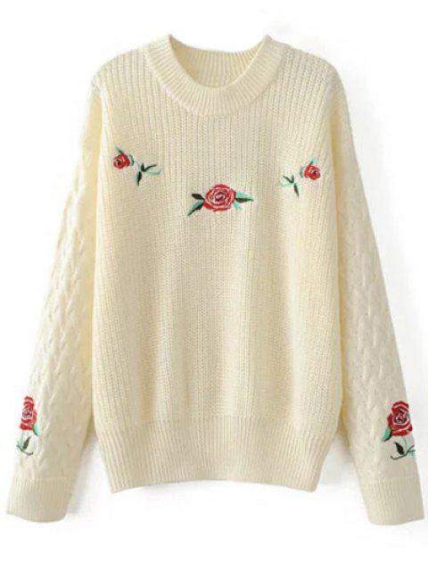 latest Oversized Floral Embroidered Sweater - OFF-WHITE M Mobile