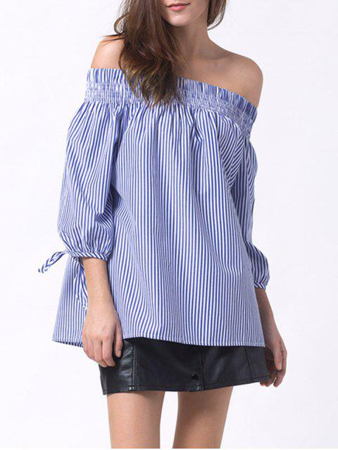 outfits Off The Shoulder Smocked Striped Blouse - BLUE S Mobile