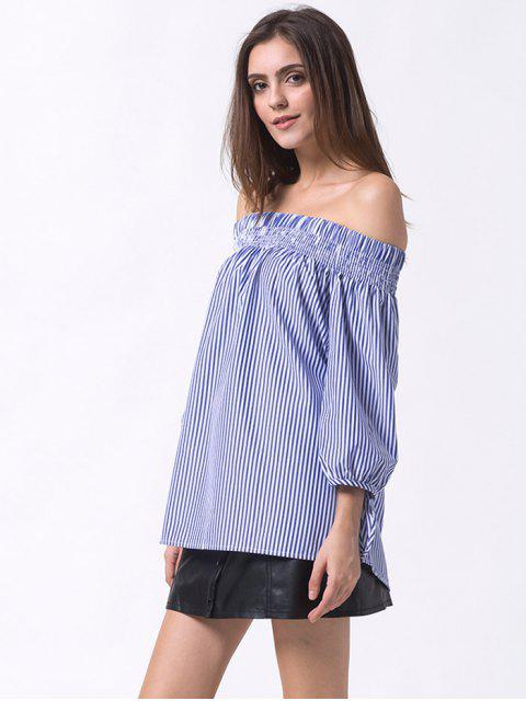 hot Off The Shoulder Smocked Striped Blouse - BLUE L Mobile