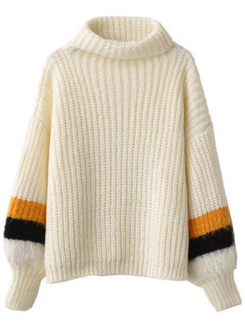 outfits Striped Puff Sleeve Turtleneck Sweater - OFF-WHITE ONE SIZE Mobile