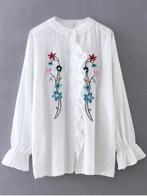 unique Embroidered Ruffled Shirt - WHITE ONE SIZE Mobile