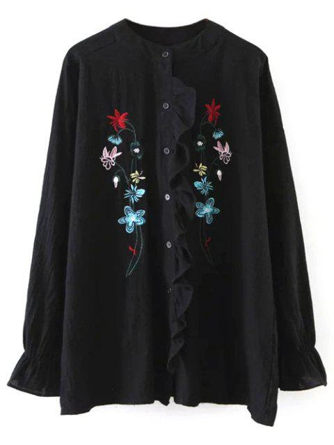 sale Embroidered Ruffled Shirt - BLACK ONE SIZE Mobile