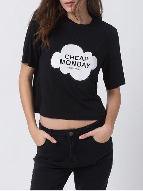 chic Patterned Short Sleeve Funny Tee - BLACK 2XL Mobile