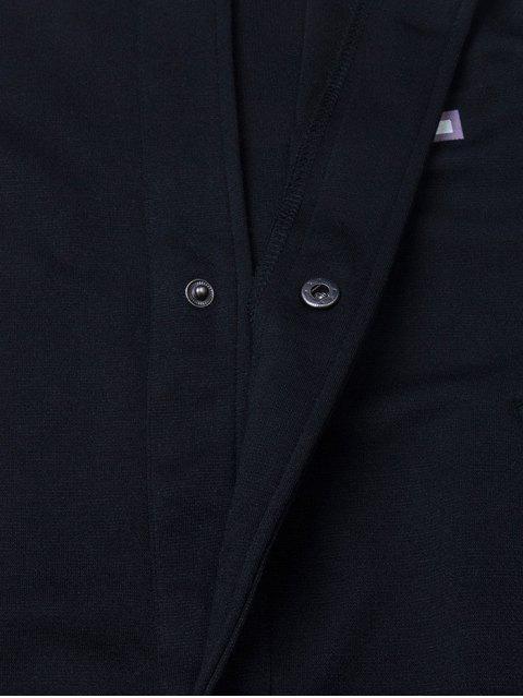 unique Patched Raglan Sleeve Baseball Coat - BLACK XL Mobile