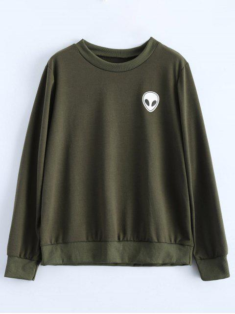fancy Fitting Skull Sweatshirt - ARMY GREEN S Mobile