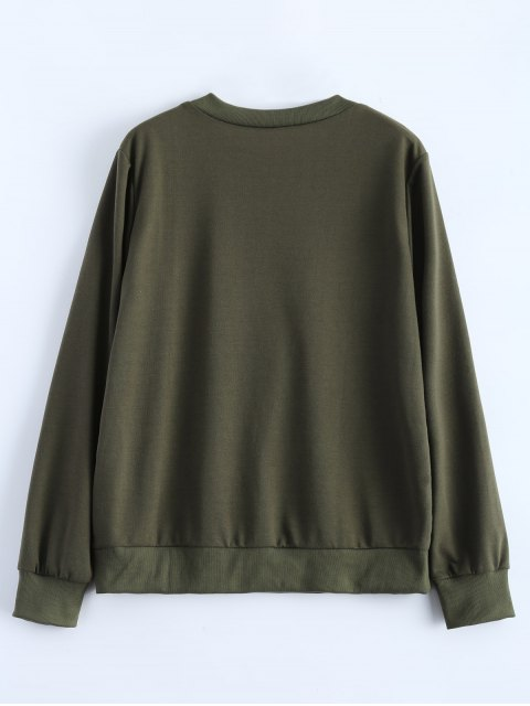 chic Fitting Skull Sweatshirt - ARMY GREEN M Mobile