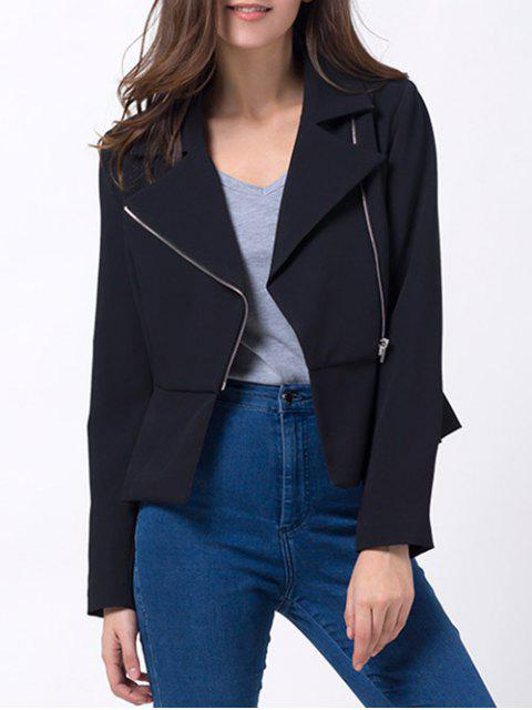 trendy Zip Up Asymmetric Peplum Blazer - BLACK S Mobile