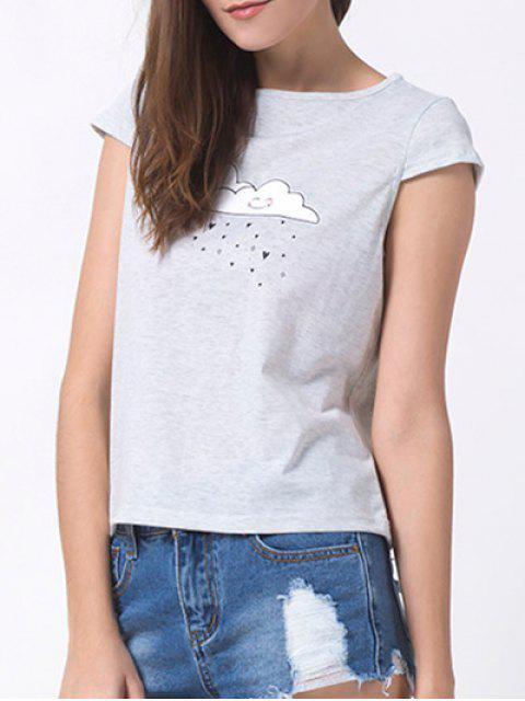 latest Casual Cartoon Print T-Shirt - GRAY XL Mobile