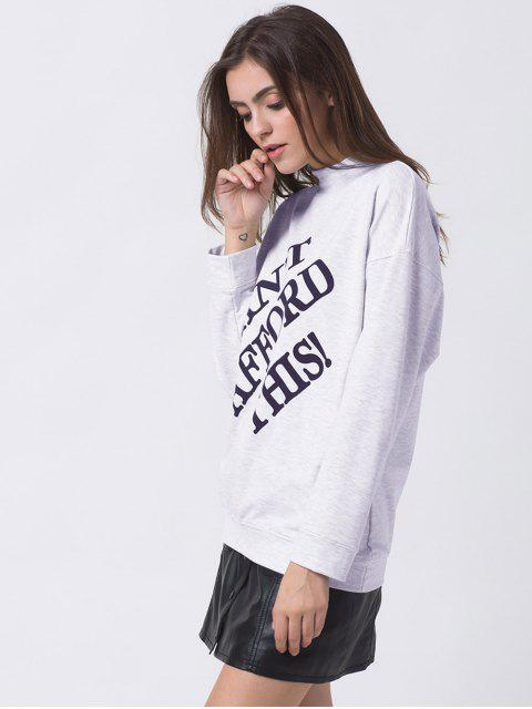 hot Mock Neck Letter Print Sweatshirt - GRAY M Mobile