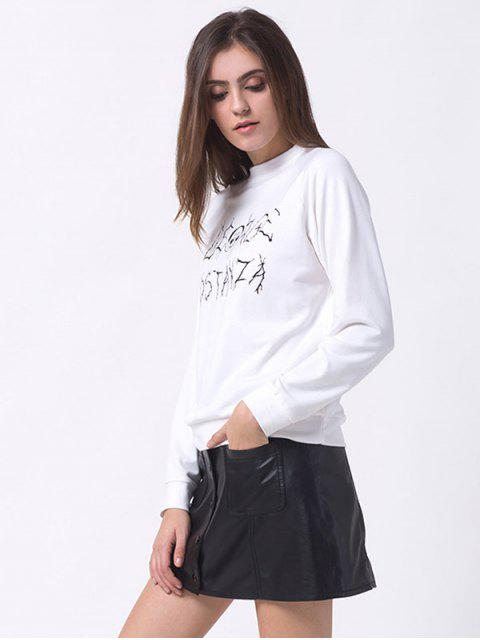 latest Oversized Funny Print Sweatshirt - WHITE L Mobile