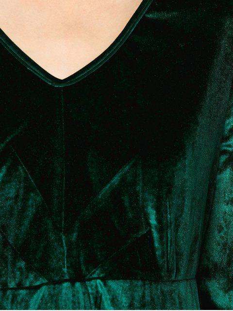 fancy Long Sleeve Velvet Thick Mini Swing Dress - GREEN S Mobile
