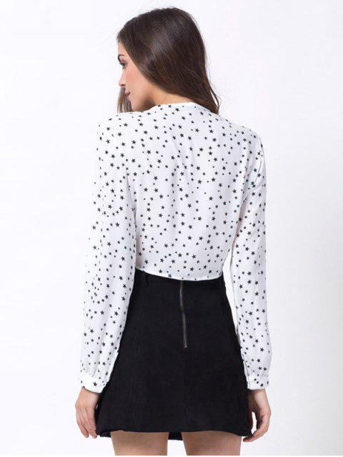 outfit Stars Print Wrap Crop Top - WHITE L Mobile