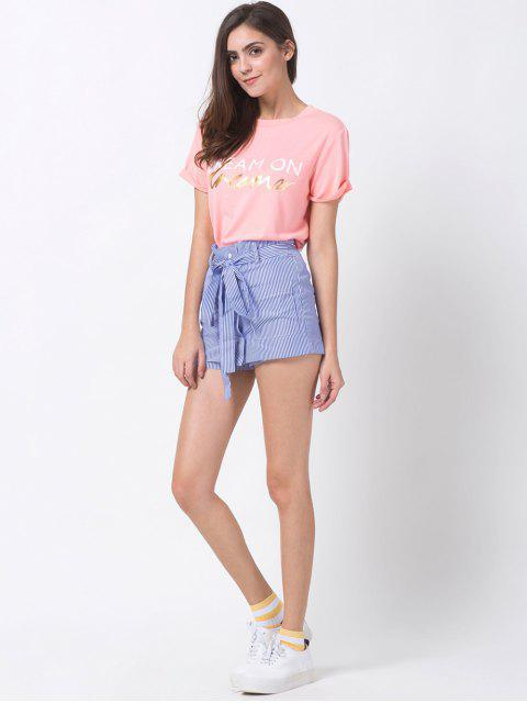 women Graphic Roll Sleeve Tee - PINK XL Mobile