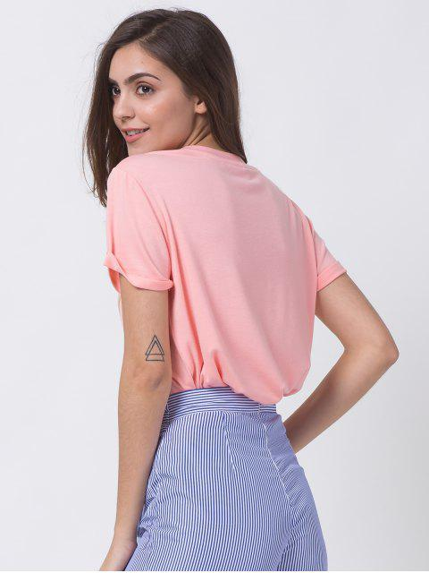 lady Graphic Roll Sleeve Tee - PINK S Mobile