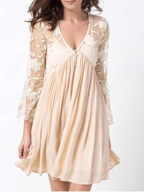 online Flare Sleeve Deep V Lace Panel Dress - OFF-WHITE S Mobile