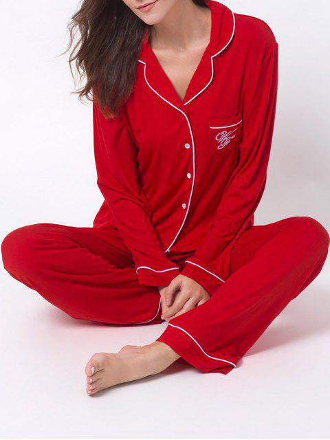 trendy Letter Shirt with Pants Loungewear - RED M Mobile