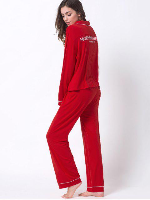 latest Letter Shirt with Pants Loungewear - RED XL Mobile