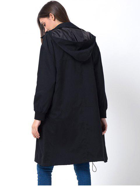 fashion Full Zip Trench Coat With Pockets - BLACK XS Mobile