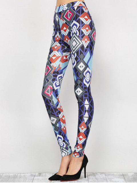 shops High Waist Geometric Print Leggings - BLUE L Mobile