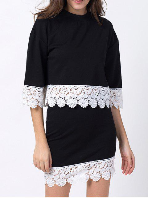 fancy Crew Neck Lace Panel T-Shirt with Mini Skirt - BLACK XS Mobile