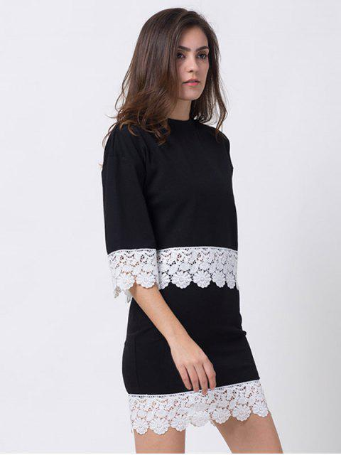 shops Crew Neck Lace Panel T-Shirt with Mini Skirt - BLACK 2XL Mobile