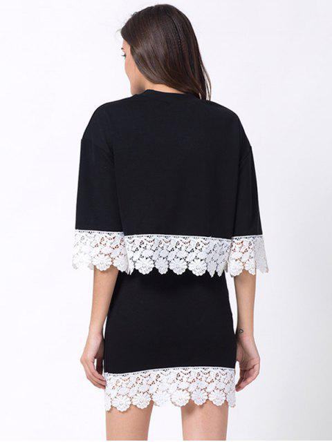 latest Crew Neck Lace Panel T-Shirt with Mini Skirt - BLACK XL Mobile
