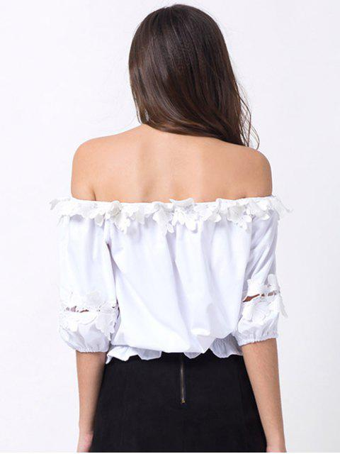 affordable Off Shoulder Lacework Blouse - WHITE S Mobile
