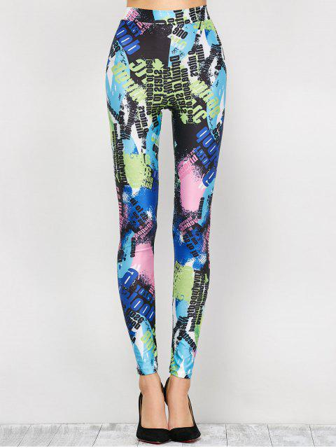 chic High Waist Tie-Dyed Figure Leggings - BLUE L Mobile