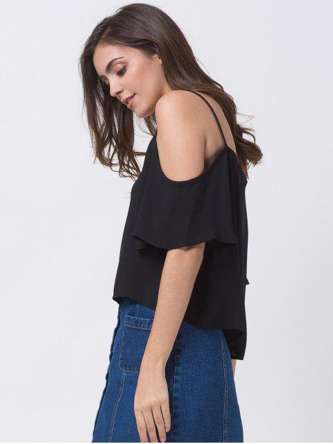 outfit Cold Shoulder Chiffon Top - BLACK XS Mobile