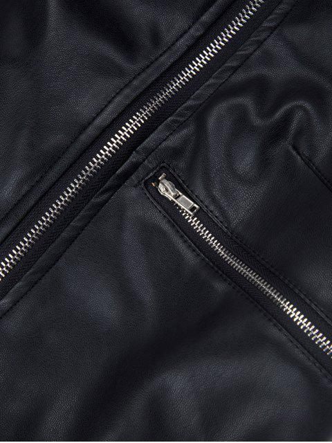 fashion PU Leather Panel Biker Jacket - BLACK 2XL Mobile