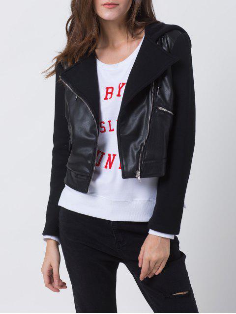 chic PU Leather Panel Biker Jacket - BLACK XL Mobile