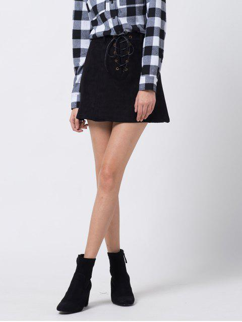 affordable A Line Faux Suede Mini Skirt - BLACK S Mobile