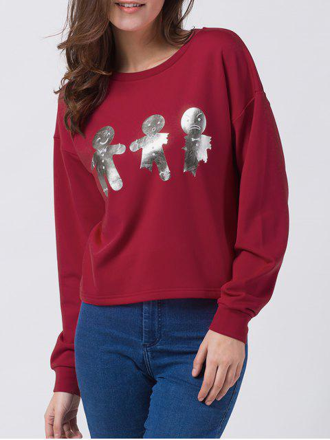 fancy Ginger Print Drop Shoulder Tee - RED 2XL Mobile
