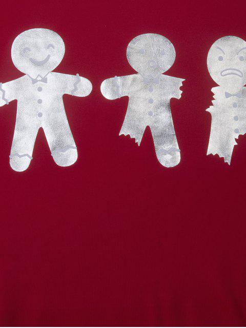 fancy Ginger Print Drop Shoulder Tee - RED 2XL Mobile